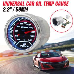 "2"" 52mm Universal Smoke Lens LED Pointer Oil Temp Temperature Gauge Car Meter"