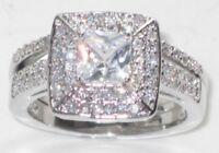 ENGAGEMENT RING SIMULATED DIAMOND WEDDING  BAND SET PRINCESS stainless steel 2pc
