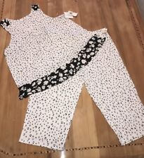 Ellen Tracy Pajama 2X Set Company Black And White Tank Top And Pant New Tag Soft