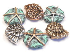 6 - 2 HOLE SLIDER BEADS TRI COLOR & TURQUOISE PATINA STARFISH & NAUTILUS SHELL