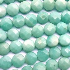 Amazonite 10mm Faceted Coin Semi Precious Stone Beads Q18 Beads per Strand