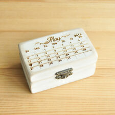 Custom Calendar Ring Box, Engraved Wedding Ring Box, Wood Save The Date Ring Box