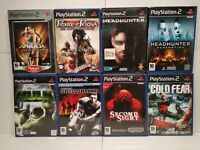 Lot 8 Jeux PS2 Tomb Raider/Prince of Persia/Head Hunter/Hulk/Cole Fear Bon état