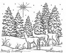 Three Deer And Star, Wood Mounted Rubber Stamp New NORTHWOODS - M7683