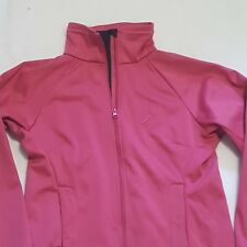 Womens Sz S Jacket BREAST CANCER AWARENESS Pink Ribbon Curved Front Zip Pockets