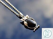 Onyx Owl Natural Gemstone Pendant Necklace 50cm Healing Stone Chakra