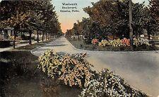 Omaha Nebraska~Woolworth Boulevard~Nice Homes~Flower Beds in Center~c1910 Pc