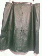 Dark Green Leather straight pencil knee lgth skirt