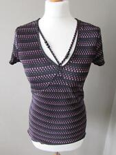 NEXT Ladies Black Pink Spotty Crinkle Fabric Top Beaded Neck Detail Size 14 VGC