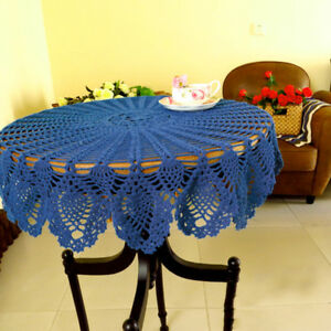 Blue Vintage Hand Crochet Lace Doily Round Table Topper Pineapple Pattern 35inch