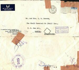 GB Cover London PHILIPPINES Manila *MISSENT OSAKA* Japan Recd Torn 1963 EP124