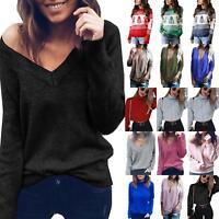 Women Knitted Sweater Ladies Long Sleeve Sweatshirt Pullover Jumper Tops Jacket