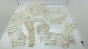 Antique Lot of 6 Collars & Embroidery Battenburg Lace Beautiful Many Yards