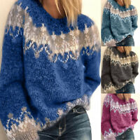 Womens Patchwork Long Sleeve Chunky Knitted Jumper Sweater Winter Tops Pullover