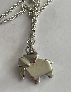 Vintage Oliver Bonas 925 Silver Origami Elephant Pendant & 20 Inch Chain 3 Gram