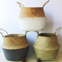 Foldable Seagrass Belly Basket Storage Plant Pot Nursery Laundry Bag Decor JZZ