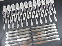 Alfenide CHRISTOFLE POMPADOUR Complete DESSERT set 12 Place settings 36pcs Rare