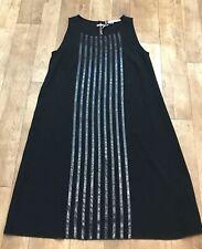 Penny Black Sleeveless Black Shift Dress Faux Snake Croc Print Stripes UK10 A17