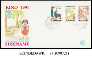 SURINAME - 1991 CHLDREN'S DRAWINGS 3V FIRST DAY COVER