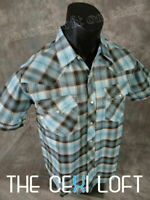 Mens CASUAL COUNTRY Plaid SHORT SLEEVE Shirt w/ Snap-Up Pockets Faded Black Blue