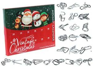 Christmas Advent Calendar Kongming Lock Metal Puzzle Days Countdown Brain Teaser