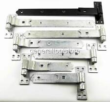 PAIR OF HEAVY DUTY HOOK AND BAND GATE HINGES CRANKED STRAIGHT GALVANISED BLACK