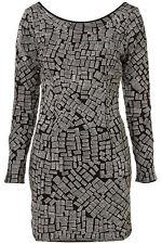Dressup @ Topshop Black Silver Low Back Zip Sleeve Bodycon Mini Dress Size 8