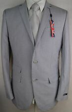#Y646 NEW BAR III Light Grey Striped 100% Cotton Two Button Slim Blazer 40L $400