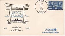 NAVAL MILITARY COVER 1950 USS BARTON 5TH ANNIVERSARY OF V-J DAY UNK CACHET MAKER