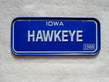 1988 IOWA Post Cereal License Plate # HAWKEYE