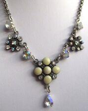 collier bijou chaîne réglable couleur argent strass perles émail pampille 2893