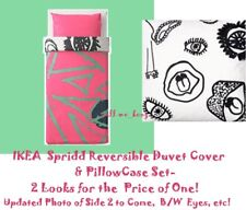 IKEA Spridd Duvet Cover Reversible FACE Pink Green Black/White Twin PillowCase