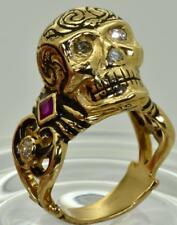 Antique Georgian Memento Mori 18k Gold,black Enamel,Diamonds&Ruby Skull ring