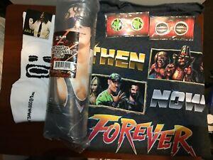 WWE Slam Crate Lot 5 items - Bret Hart Mankind DX Wrestlemania Pins WWE T-shirt