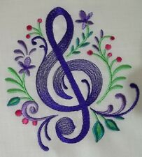 "Embroidered Quilt Block Panel ""Treble Clef Flourish"" Pure Irish Linen Fabric"