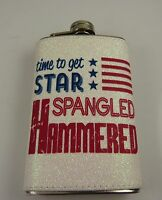 4th July time to get star spangled hammer stainless steel Flask purse size 5 oz