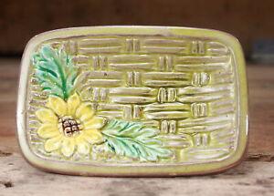 Vintage: Ceramic Basket weave Sunflower Trinket Dish - Olive Green