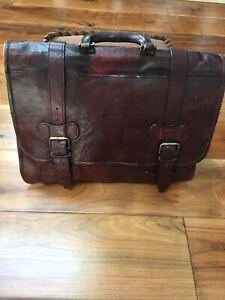 Vintage Unbranded Large Burgundy Leather Satchel