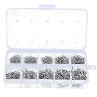 500pcs Fish Jig Hooks with Hole Fishing Tackle Box 10 Sizes Carbon Steel A3Z9