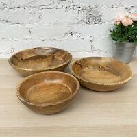 Vintage Mango Wood Round Serving Kitchen Wooden Fruit Snack Salad Storage Bowls