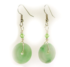 Nephrite Jade Donut Hang Earrings A045-5 Stainless Steel Good Luck FREE GIFT BOX