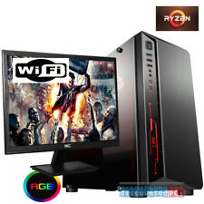 Ryzen 5 2400g Quad Core 8GB SSD Desktop Gaming PC Computer Vega 11 24'' bb2