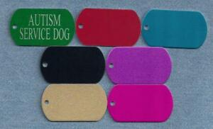 AUTISM SVC DOG - service dog vest tags, collar, harness tags - laser engraved