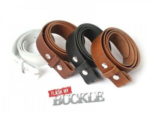 Mens Genuine Leather Belt - Leather Press Stud Belt For Buckles- Made In England