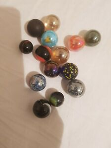 14 Multicolor Vintage Antique Handmade Marbles Play Wear