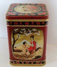 "Oriental Tin w/ Hinged Lid Asian Oriental Scene girls 5 3/4""T X 4"""