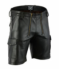 AW-7520 Cargo Ledershorts Zimmermann Shorts Glattes leder Shorts,kurze lederhose