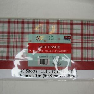 Plaid Tartan Pattern and Solid Christmas Holiday Gift Tissue Paper 40 Sheet Pack