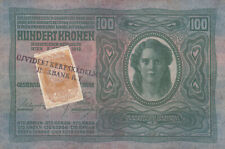 100 KRONEN VF PROVISIONAL BANKNOTE WITH STAMP FROM SERBIA/VOJVODINA 1918