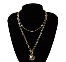 Punk Bead Lariat Gold Color Lon Pearl Coin Pendant Choker Necklace Women Wedding